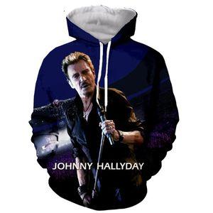 Johnny Hallyday Fashion Long Sleeves 3D Print Zipper Hoodies Sweatshirts Jacket Men women tops dropshipping