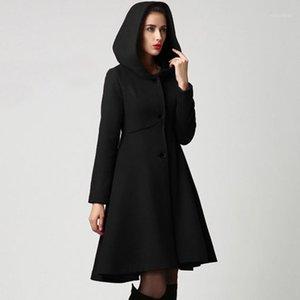 Women's Wool & Blends 2021 Fashion Winter Autumn Women Coat Long Sleeve Solid Belted Loose Warm Woolen Jacket Hooded Outerwear#J301