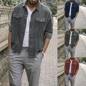 Mode 2021 Nouveaux Hommes manches longues manteau manteau hiver chaud velours côtelé denim indie mod rétro vtt veste cordon boutons poches survivre