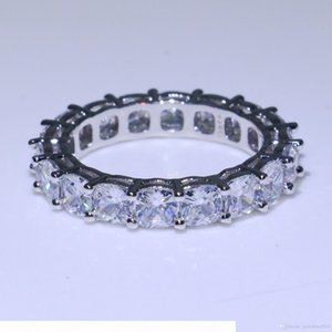 K Unique Luxury Jewelry Top Selling 925 Sterling Silver Cushion Shape White Topaz Cz Diamond Stack Full Eternity Women Wedding Band Rin