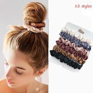6 teile / satz Frau Mode Scrunchies Samt Haar Krawatten Mädchen Pferdeschwanzhalter Gummiband Elastische Haarband Haarschmuck