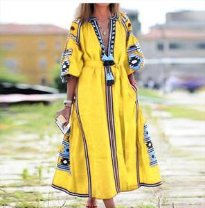 Autumn Three Quarter Puff Sleeve Long Dress Women V Neck Tassel Party Dress 2020 Elegant Floral Print Patchwork Loose XXL