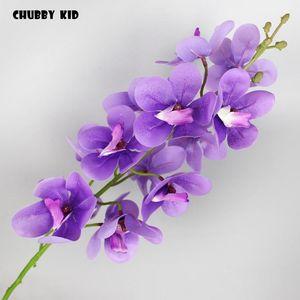 Real Touch 14 Tête Orchidées Silicone artificielle en gros Main Feutre Ascocend Fleurs De Mariage Décoratif Décoratif Chandalan Cymbidium 12pcs