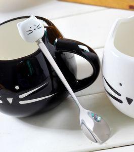 Único desenhos animados preto branco gato de aço inoxidável gatinho colheres de cerâmica de talheres ferramenta ferramenta copo criativo decoração hhe4091