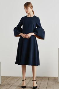 Retro evening dress spring 2020 new women's Lotus sleeves elegant puffy dress