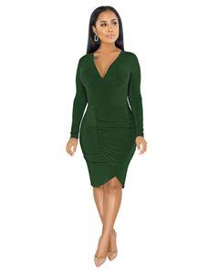 섹시한 V 목 Womens 디자이너 드레스 패션 불규칙한 누적 긴 소매 여자 드레스 캐주얼 여성 의류