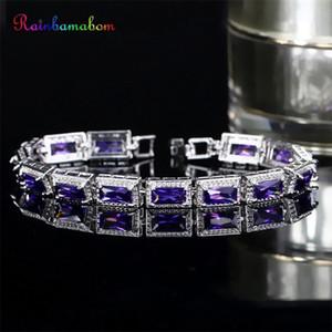 Rainbamabom Ethnic 925 Solid Sterling Silver Morganite Amethyst Ruby Gemstone Bangle Charm Bracelets Fine Jewelry Gift Wholesale 201211