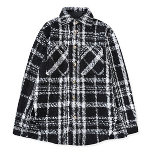 Winter Long Sleeve Turn-down Collar Casual Shirts   black and white plaid Men Shirts   Wool woolen thickening Woven shirt jacket
