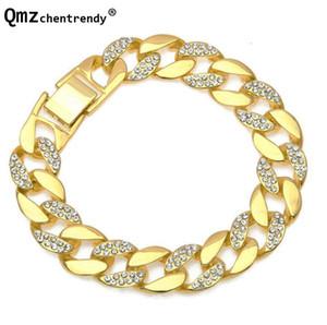 Hip Hop Simulated gemstone Gold Bracelet Rhinestone Cuban link Chains Bracelet Male Women Luxury Fashion Jewelry Accessory
