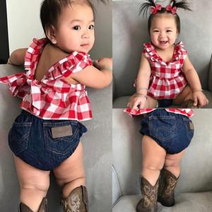 Baby Girl Ropa Traje Falda de cuadros Camiseta Top + Pantalones cortos de mezclilla Diadema Hembra Mujer Bebé 2019 Ropa recién nacida Y200829