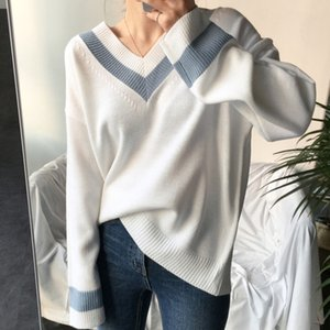 Colorfaith New 2020 Autumn Winter Women's Sweaters V-Neck Pullover Korean Style Minimalist Casual Female Jumpers SW8853 J1202