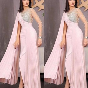 Pink African Dresses Evening Wear 2021 Crystal Beaded Long Sleeve Ruched Chiffon Long Prom Pageant Dress Women Evening Gowns Party