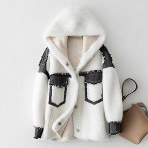 Abrigo de invierno Mujer Abrigo natural de piel natural Chaqueta de piel real Ropa con capucha 2020 Vintage Ovejas Cizallas Lanas Chaquetas HIVE 97602YX1