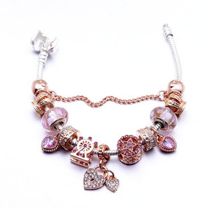 Pandora Series Classic Rose Gold Diffuse Pink Glass Bead Bracelet DIY Heart Lock Pendant Alloy Bracelet Y1130