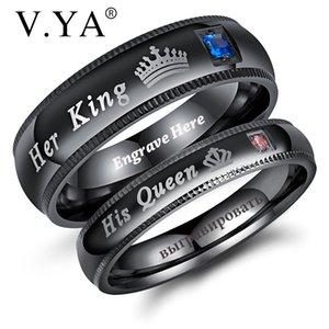 V. Ya seu rei sua rainha simples de pedra de cristal coroa anéis de casal novo design preto anel gravado preto para amante