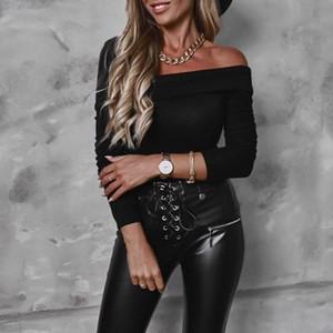 Open One-shoulder Sexy White Long Sleeve Skew Collar Women Slim Tees Tops Korean Style 2020 Autumn Winter Tshirts SJ7239X