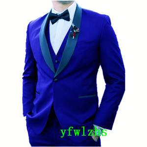New Style One Button Handsome Shawl Lapel Groom Tuxedos Men Suits Wedding Prom Dinner Best Man Blazer(Jacket+Pants+Tie+Vest) W674