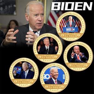Joe Biden in oro placcato moneta da collezione con portatabagno USA Sfida moneta Presidente regali di medaglia di moneta originale per papà AHE3158