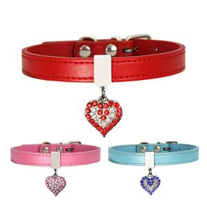 Pet Dog Collar With Diamond Heart Bell Fashion PU Leather Pet Dog Cat Collars Small Dog Neck Adjustable Strap FWA2711