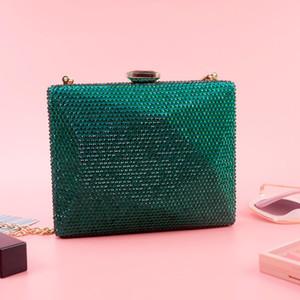 Зеленый клатч Вечерняя сумка для женщин Мода Золотая цепь Сумки через Crossbody Роскошные кристаллы Femme Crystal Party Boine Bag Pochette Femme ZD1453