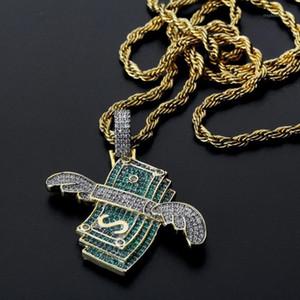 Topgrillz novo gelado fora voando dinheiro sólido pingente colar mens hip hop ouro cor charme charme jóias presentes1