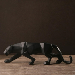 Resina Abstract Black Panther Scultura Figurina Artigianato Home Desk Desk Decor Geometrica Resina Fauna selvatica Statua della statua del leopardo