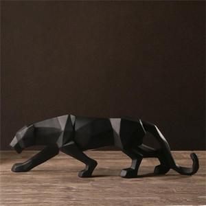 Resina abstracta negro pantera escultura estatuilla artesanía artesanía decoración decoración geométrica resina fauna leopardo estatua artesanía