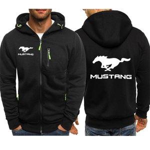 Куртка Мужчины Mustang Print Print Повседневная хип-хоп Harajuku с длинным рукавом с капюшоном с капюшоном мужские толстовки на молнии мужчина капюшона одежда 201210