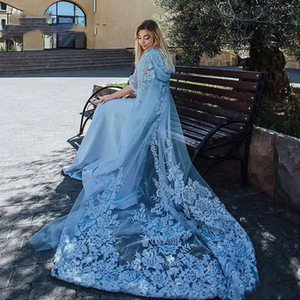 Light Sky Blue Muslim Evening Dresses Lace Appliques Hooded Cloak Saudi Arabia Women Prom Dresses Sweep Train Formal Party Vestidos