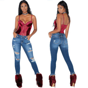 Womens Solid Jeans Mode Persönlichkeit Jeans Weibliche abgenutzte Jeans Hohe Taille Lässig zerrissene Slim Denim Hosen
