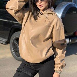 Мода Новый PU Кожаный Пальто Женщины Толстовый 2020 Тонкая пружинная Осень Черный Хаки Толстовка Уличная Одежда Готические Повседневные толстовки