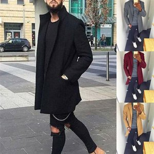 Cool Men Winter Warm Jacket Coat Trench Long Overcoat Wool Outwear Retro Tops Smart Casual Outwear Windbreaker Plus Size M-3XL