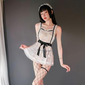 Perspectiva sin respaldo Cruz limpieza blanco de encaje delantal traje cosplay erótico Apelando Establece tentación uniforme