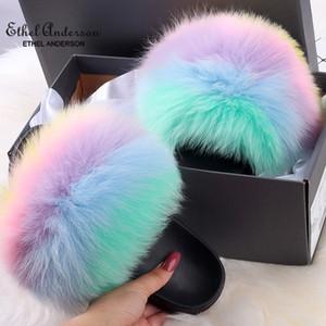 ETHEL ANERSON Real Fox Raccoon Fur Slippers for Women Fur Slides Flip Flops beach plush fluffy furry designer slippers sandal