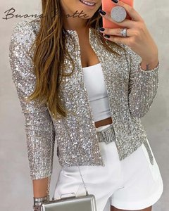 Long Sleeve Open Front Sequin Coat Women Casual Female Jacket Sequin Pearls Buttons Coat O-Neck Out Wear Ladies