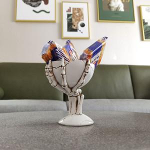 3D Skull Figurine Skeleton Ornament Stationery Holder Snacks Holder Small Furniture Sundries Holder Creative Tabletop Accessories