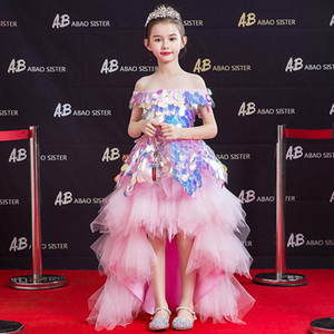 Flower Girls Dresses Ball Gown Boat Neck Sequined Lace Tulle Off The Shoulder Knee-Length Luxury Princess Kids Party Dress D162