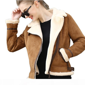 Brown Shearling Sheepskin Coats Women Autumn Winter Womens CoffeeLambs Wool Short Biker Faux Leather Suede Jackets JS3010
