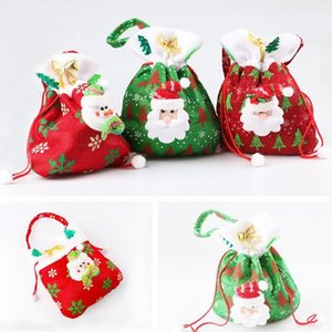 A-Christmas Non-woven Candy Bag Cartoon Santa Snowman Red Green Gift Jewelry Kids Storage Pouch DHA1107