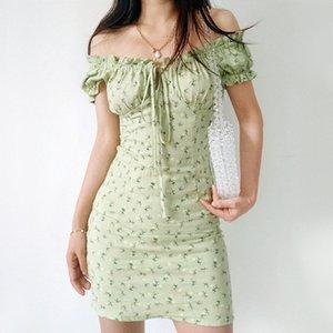 Frauen Slash Neck Shirred Back Floral Print Minikleid in Sage Green Tie Front Baumwolle Minikleid Z1202