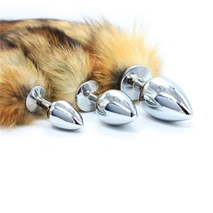 S M L 3 Different Size Metal Real Hair Fur Fox Tail Butt Plug Sex Bdsm Bondage Set Anal Plug Toys For Women Erotic Adults Games Y201118
