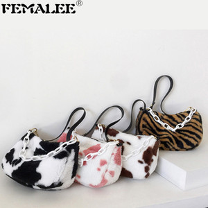 Luxury Women's Bag Faux Fur Zebra Cow Flap HandBags Winter Designer Acrylic Chain Shoulder Sac New Contrast Color Crossbody Bags Q1208