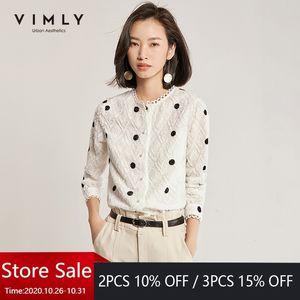 Vimly Office Lady Polka Dot Shirt Femmes Vintage Spring Spring Automne O-Col Simple Castry Casual Blusas Femininas 97878 201027