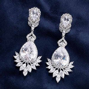 Luxury Cubic Zircon Rose Gold Color Water Drop Crystal Big Long Dangle Earrings For Brides Women Wedding Jewelry