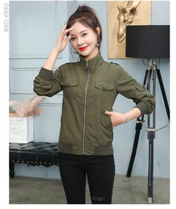S M L XL XXL new autumn 2020 women jacket long sleeve casual turndown collar with zipper and pocket pink green