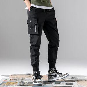 Hip Hop Boy Multi-Pocket Cargo Pants Men Japanese Streetwear Harem Pant Punk Casual Trousers Jogger Male Dancing Black Pants J1218