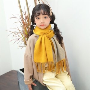 Luxury-Autumn and winter new children's solid color cashmere scarf warm bib double-sided wild tassel hit color baby scarf women A264