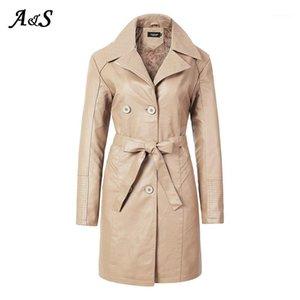 Anbenser Cool Artificial Cuero Largo Jacket New Winter Mujeres sueltas Cinturón Faux Cuero Cortavientos Trench Abrigo Slim Otoño Jacket1