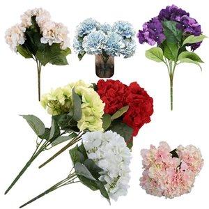 """Artificial Hydrangea Flower 5 Big Heads Bouquet (Diameter 7"""" each head)"""