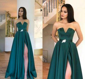 Hunter Green Elegant A Line Satin Prom Dresses Long with Sash High Side Split Vestidos Cheap Formal Evening Wear Party Gowns ogstuff
